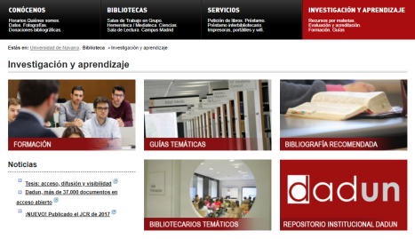 Páginas web sobre Investigación y aprendizaje.